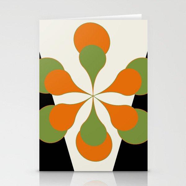 Mid-Century Modern Art 1.4 - Green & Orange Flower Stationery Cards