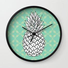 Pineapple in turquoise , tropical , hawaii , summer , fruit , pineapple print , pineapple design Wall Clock