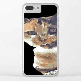 Cute Tricolor Cat With Tongue Out Clear iPhone Case