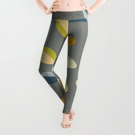 Mid Century Modern Graphic Leaves Pattern 3. dark grey Leggings