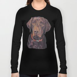 Chocolate lab LABRADOR RETRIEVER dog portrait painting by L.A.Shepard fine art Long Sleeve T-shirt