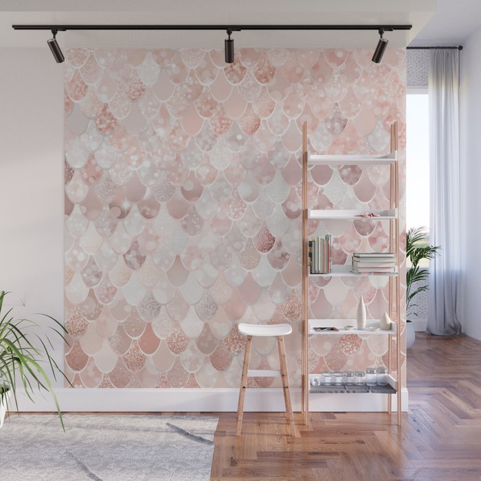 Mermaid Scales Pattern, Blush Pink and Rose Gold Wall Mural