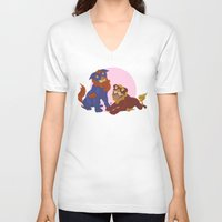 pit bull V-neck T-shirts featuring Pit Bull Shisa Guardians by AlliePets