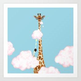 Giraffe Enjoy yummy Cloud Candy Art Print