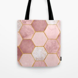 Pink and Gold Hexagon Print Tote Bag
