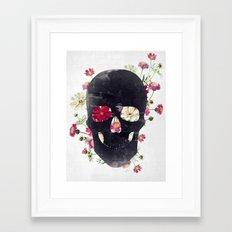 Skull Grunge Flower Framed Art Print