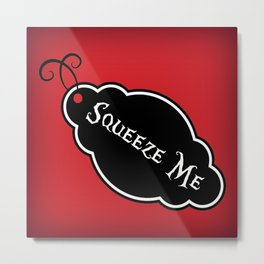 """Squeeze Me"" Alice in Wonderland styled Bottle Tag Design in 'Off With His Head Red' Metal Print"