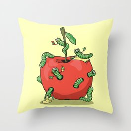 Funny worms in the apple  Throw Pillow