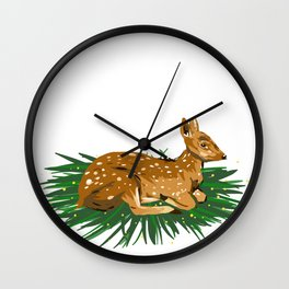 Fawn Illustration Wall Clock