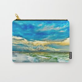 Blue Grean Fine Art Print Painted Seascape Carry-All Pouch