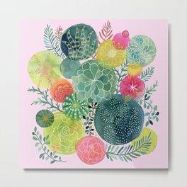 Succulent Circles on Pink Metal Print