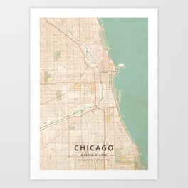 Chicago, United States - Vintage Map Kunstdrucke