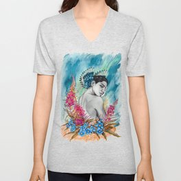 Alaska Wildflowers: Fireweed & Forget-me-nots Unisex V-Neck