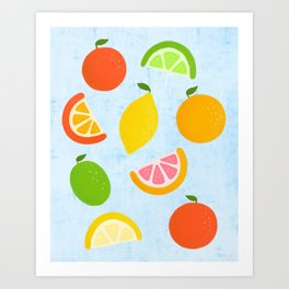 Citrus Fruit Painting - Orange, Lemon, Grapefruit and Lime on Blue Background Art Print
