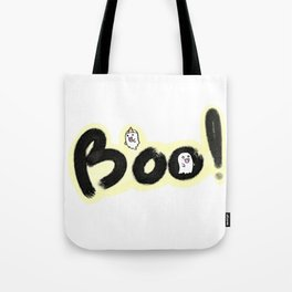 Ghost Boo! Halloween spooky doodle lettering hand drawn. Tote Bag