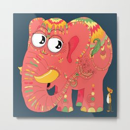 colorful Indian elephant and mouse Metal Print