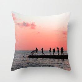 Pink water Throw Pillow