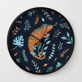 Orange Chameleon Wall Clock
