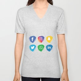 social media Whatsapp instagram facebook snapchat linkdn twitter Unisex V-Neck