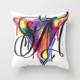 Calligraphy Capital Initial M Throw Pillow