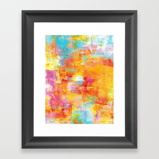 OFF THE GRID Colorful Pastel Neon Abstract Watercolor Acrylic Textural Art Painting Nature Rainbow  Framed Art Print