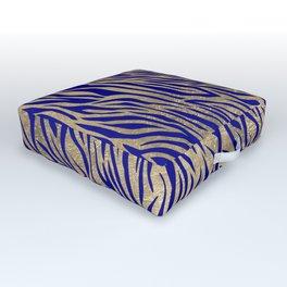 Modern Elegant Navy Blue Gold Zebra Animal Print Pattern Outdoor Floor Cushion