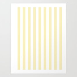 Narrow Vertical Stripes - White and Blond Yellow Art Print