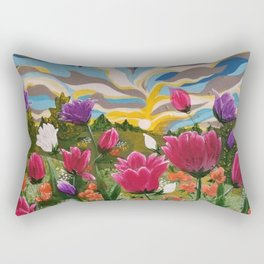 Field of Dreams, Floral Landscape, Abstract Floral Landscape, Acrylic floral field Rectangular Pillow