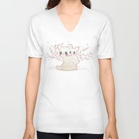 kawaii V-neck T-shirts featuring Kawaii by Lily Art