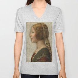 "Leonardo da Vinci ""Bella principessa"" Unisex V-Neck"
