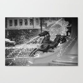 Horse Fountain Sculpture Canvas Print