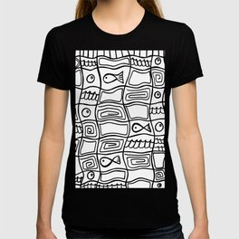Fishes and Shells - Tribal Style Doodle T-shirt