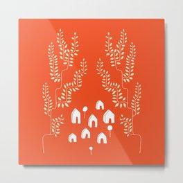 Line Vine Village in Red, Line Art Community Metal Print
