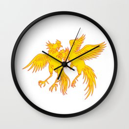 Cockfighting Roosters Cockerel Drawing Wall Clock