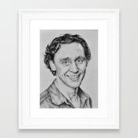 tom hiddleston Framed Art Prints featuring Tom Hiddleston by hinterdemlicht