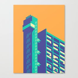 Trellick Tower London Brutalist Architecture - Plain Apricot Canvas Print