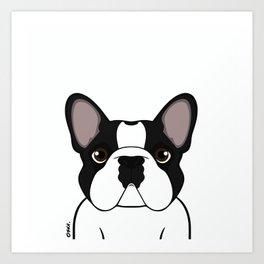 Frenchie - Brindle Pied Art Print