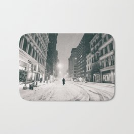 New York - Snow at Night Bath Mat