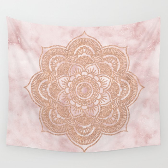 Rose Gold Mandala Pink Marble Wall Tapestry By Marbleco