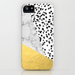 Marble Gold Dots - modern hipster trendy shiny gold foil cell phone case iphone dorm college iPhone Case
