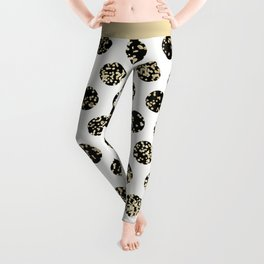 Stylish chic black and gold confetti polka dots Leggings