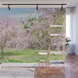 cherry blossoms blooming in a fantastic garden Wall Mural