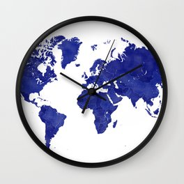Vintage navy blue world map Wall Clock