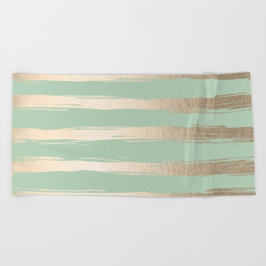 Simply Brushed Stripes White Gold Sands on Pastel Cactus Green Beach Towel
