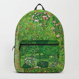 """Gustav Klimt """"Orchard With Roses"""" Backpack"""