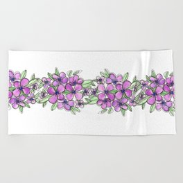 Lavender Purple Flowers Floral Watercolor Beach Towel