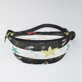 Christmas holly & poinsettia over black and white stripes Fanny Pack
