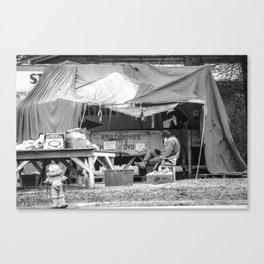 Man Selling VHS Porn (Black and White) Canvas Print