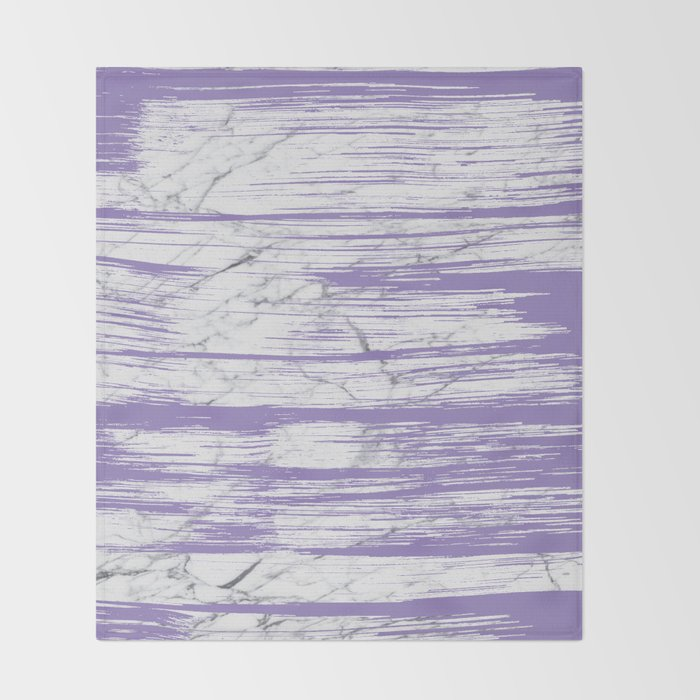 Modern abstract violet watercolor brushstrokes marble pattern Throw Blanket