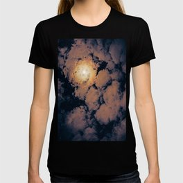 Full moon through purple clouds T-shirt